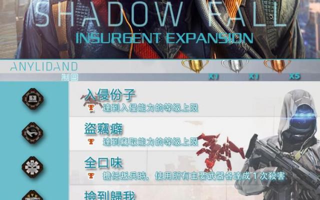 《殺戮地帶:暗影殺機》DLC「叛亂」獎盃圖表